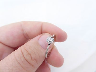 Fine 35 point old mind cut diamond solitaire platinum ring