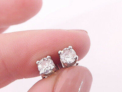 18ct/ 18k white gold 65 point old cut Diamond solitaire stud earrings, 750