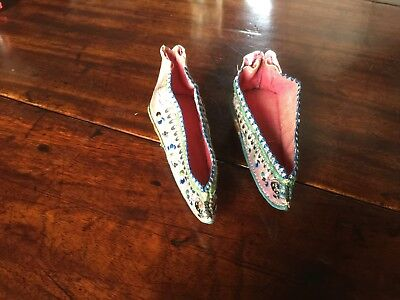 Antique Chinese Hand Embroidered Silk Lotus / Foot Binding Shoes
