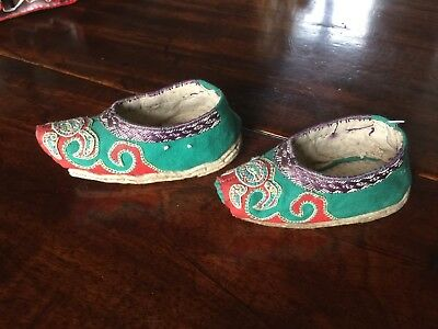 Antique Chinese Embroidered Decorative Child's Slippers.