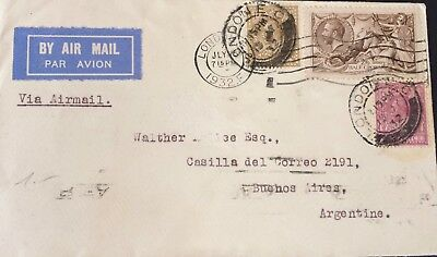 1932, KGV, 2/6-, Seahorse, Cover to Argentina, King George V, Great Britain, GB