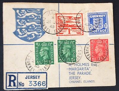 1945, Jersey, Channel Islands, Cover, KGVI, Great Britain, GB, King George