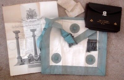 Vintage Masonic Craft Apron In Real Leather Pouch Bag & Initiation Certificate