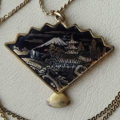 Vintage AMITA Japanese DAMASCENE Enamel Fan Pendant & Chain