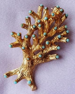 Vintage Turquoise Cabochon Golden TREE Brooch