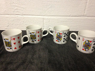4 Vintage Horchow Made In Japan Playing Card Coffee Mugs
