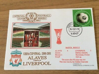 LIVERPOOL V ALAVES of SPAIN 2001 UEFA CUP FINAL FOOTBALL FDC COVER