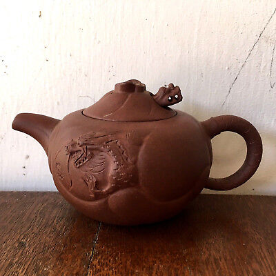 Antique Chinese Yixing Red Clay Teapot, Dragon Motif - Signed, Marked
