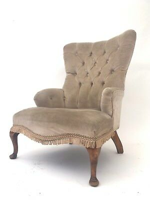 Vintage Victorian Style Queen Anne Bedroom Chair Rustic Library Salon Armchair