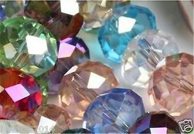 6mm 100pc multicolor Jewelry Faceted Rondelle glass crystal Loose beads