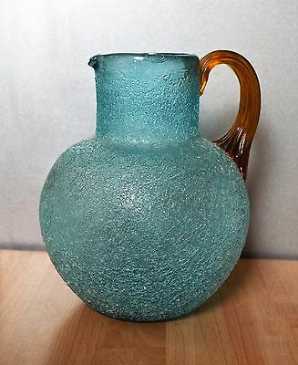 Boston & Sandwich Blue Overshot Crackle Glass Jug with Amber Reeded Handle