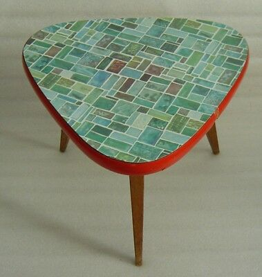 Atomic Age mosaic tile pattern formica covered tripod plant stand display table