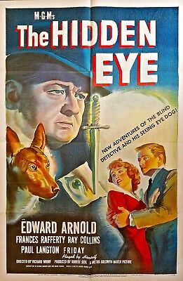 The Hidden Eye (1945) Edward Arnold Detective Classic * Stunning Orig 27X41 1Sht