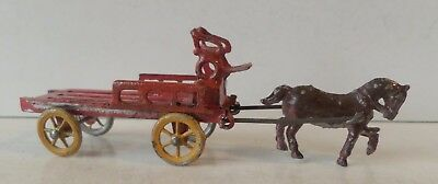 Vintage Simon And Rivollet Painted Lead Miniature Wagon And Horse