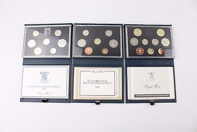 Collection of 3x UNITED KINGDOM PROOF COIN COLLECTION 1985, 88, 89, & COA's