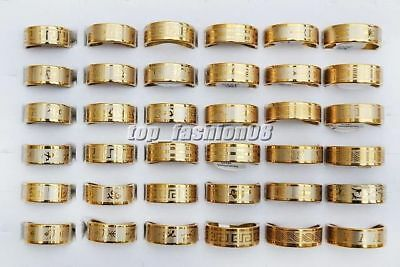 Lots 12pcs golden 1.2mm thick mixed pattern Stainless steel rings 17-22mm FREE