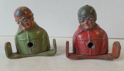 Vintage Painted Lead Lot Of Two Part Figures Of Pilots/racing Car Drivers