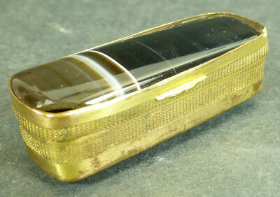 Vintage Onyx and Gold Tone Snuff/Pill Box