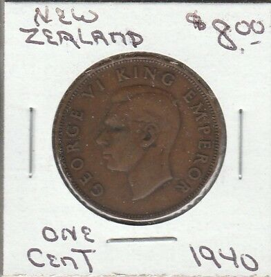 1940 - one cent - New Zealand Coin - GOOD - 100% Guaranteed!