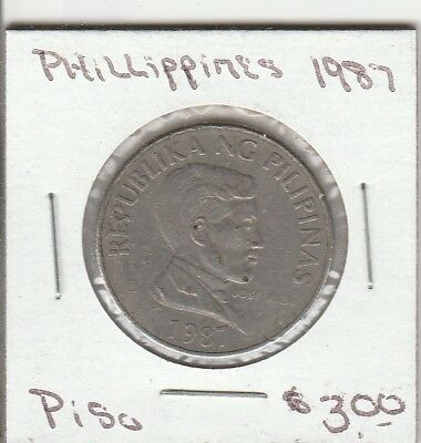 1987 - Piso - Phillippines Coin - GOOD - 100% Guaranteed!