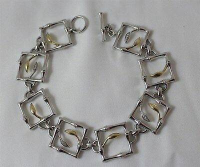 Kathy Ireland Sterling Silver & 14K Gold w/Diamonds Ladies Toggle Clasp Bracelet