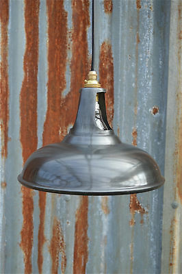 Vintage antique zinc ceiling light vented lamp shade factory industrial zcg3