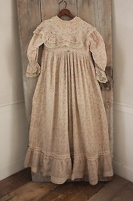 Antique Dress woman's clothing French nightdress cotton printed with lace c 1890
