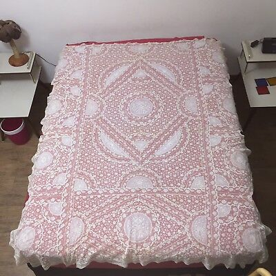 Stunning 1920s Antique FRENCH NORMANDY BED LACE 71x83 Coverlet Bedspread Bridal