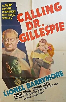 Calling Dr. Gillespie (1942) Lionel Barrymore Mgm Original 27X41 1-Sheet Poster!