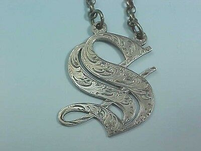 """1847 Sterling Silver Decanter Wine Label """"S"""" By Rawlings & Summers Of London"""