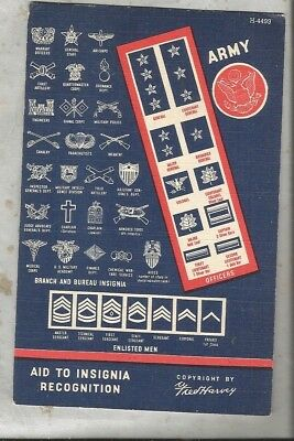 1940s linen postcard ARMY insignias guide Fred Harvey
