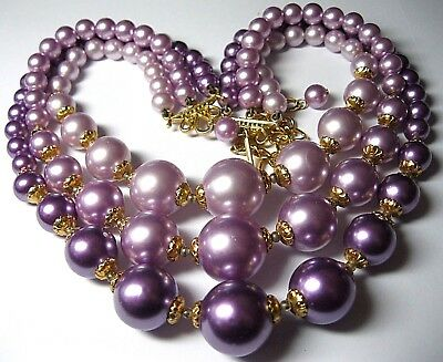 Gorgeous VINTAGE 1950's Triple 3 Row Large Purple Pearl Bead Jewellery NECKLACE