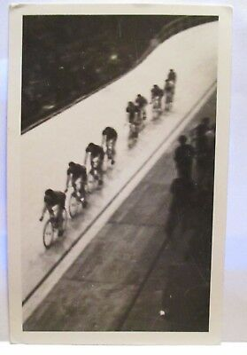 "1950 PHOTO POSTCARD  "" 6 DAY BIKE RACE BUFFALO NY ""  RACERS ON TRACK ca 1939"