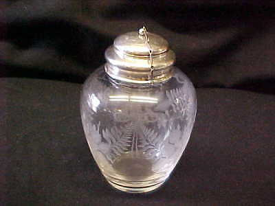 STERLING & ETCHED CRYSTAL TEA CADDY w STERLING TEA BALL