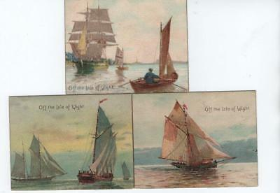 3 Lovely Antique Miniature (Midget) Chromo Postcards Ships off the Isle of Wight
