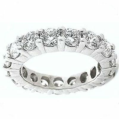 4.5 ct  Round DIAMOND ETERNITY RING 14 gold BAND 0.30 ct each, F color VS sz 4.5