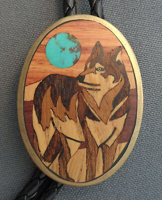 Western Slide Bolo Tie Handcrafted Intricate Wood Inlay Wolf + Turquoise Moon!