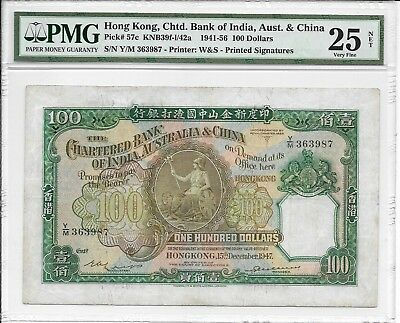 The Chartered Bank of India, Australia & China - $100, 1947. PMG 25Net. Rare.