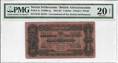Straits Settlements / British Administration - $1, 1915. PMG 20Net. Minor Repair