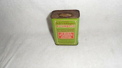 Medical Quack Cure--Dr. R. Sciffmans Asthmador Cure Tin With Belladona Near Mint