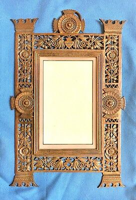 Vintage 19th c. Victorian  Aesthetic Brass Mirror Photo frame c. 1880