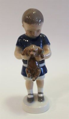 "Royal Copenhagen Porcelain Figurine #1021-422 ""Ole, Boy with Dog"" 6.75"" in Box"