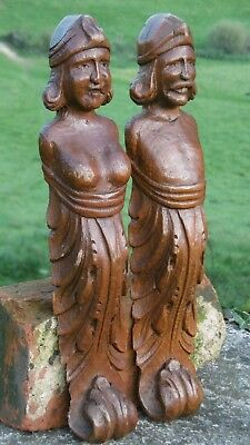SUPERB PAIR OF 19thc OAK CARVED CORBELS OF MALE & FEMALE FIGUREHEADS