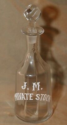 Antique Advertising Etched Cut Glass Decanter Whiskey Bottle J.M. Private Stock