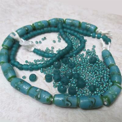 Lampwork turquoise Indonesian beads, +IndoPacific Trade beads +seed
