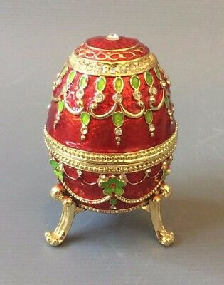 "Vintage Faberge Imperial Red Enamel Crystal Yellow Gold Plated Egg Box 4"" x 3.25"