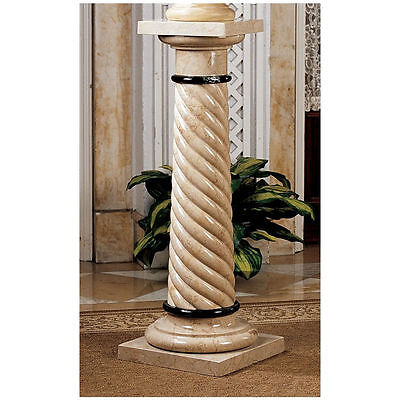 Italian Style Spiraled Creme Plant Stand Solid Marble Column Pedestal NEW