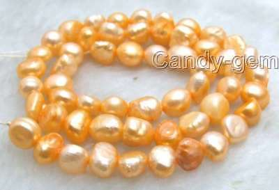 "SALE 5-6mm Natural Orang Freshwater BAROQUE Pearl Loose Bead 14""-l464 Free ship"