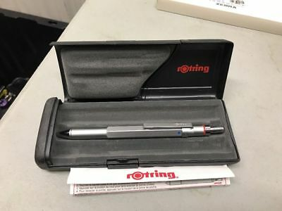 Rotring 600 Trio Ballpoint  Pen Silver  Blue, Red, & Pencil  New In Box  46585