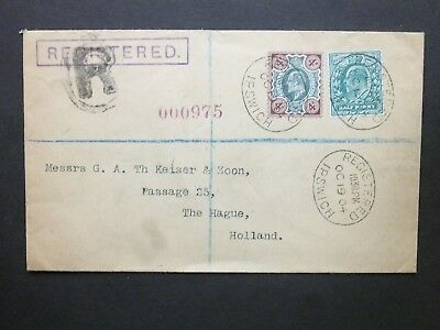 Suffolk 1904 KEVII 1/2d + 4d Cover REGISTERED IPSWICH ovals to The Hague Holland